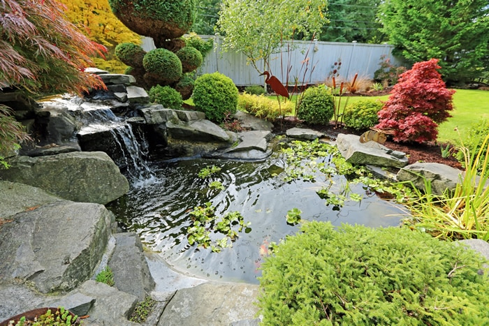 Large waterfall in a lovely garden