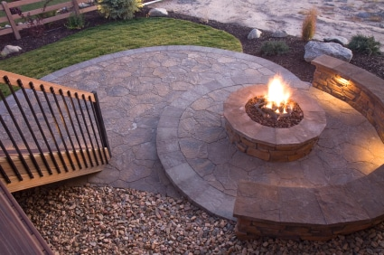 Beautiful patio with a firepit in the center