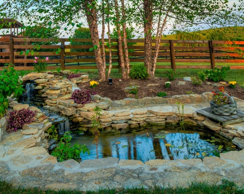Gorgeous pond with custom landscaping around