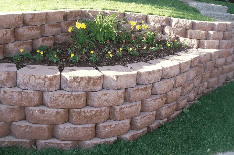 Retaining wall installed and maintaned by Westco Grounds Maintenance - Landscaping Jefferson City